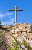 Worship cross on the Tsarev mound near Samara, Russia on a summe — Stock Photo
