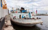 Nave de Naryn en el amarrado de Volga río en día de verano — Foto de Stock