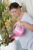 Elderly woman caring for potted plants — Stock Photo