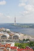 View of the central market Riga, and TV Tower — Stock Photo