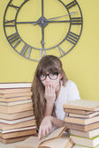 Girl with glasses read the book something amazing — Stock Photo