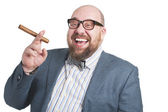 Laughing man with a cigar — Stock Photo