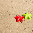 Starfish-shaped molds on the sand — Stock Photo #52366681