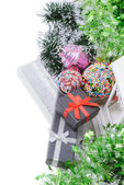 Elevated view on christmas present gifts, tinsel — Stock Photo