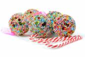 Christmas balls and candy canes — Foto de Stock