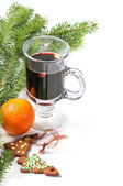 Glass of red mulled wine — Foto Stock