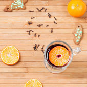 Traditional mulled wine with spices — Foto Stock