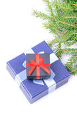 Top view on christmas gifts — Foto Stock