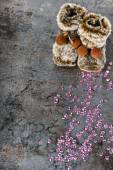 Christmas decorations - snow boots and sequins — Stock Photo