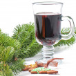 Red mulled wine and different decorations — Foto Stock #55898527
