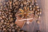 Closeup shot to anise, chocolate and coffee beans — Stockfoto