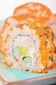 Closeup California maki sushi with masago — Stock Photo