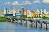 Paton bridge on a Dnieper river — Stock Photo