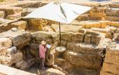 Female archaeologist on the dig. Old Town. Rhodes Island. Greece — Stock Photo