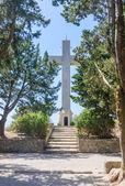 Cross on the observation deck. Mount Filerimos. Rhodes. Greece — Stock Photo