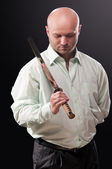 Man with a Japanese sword — Stock Photo