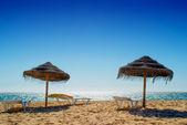 Umbrella at the shore of the Atlantic Ocean — Stockfoto