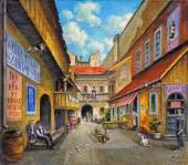 Igreja Velha de pintura a óleo — Fotografia Stock