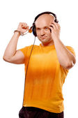 DJ with headphones and handcuffs — Stock Photo