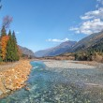 Autumn landscape mountain river Russian North Caucasus — Stock Photo #55758859