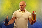 Happy man with a beer — Stock Photo
