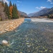 Autumn landscape mountain river Russian North Caucasus — Stock Photo #55997083