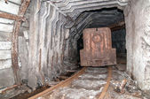 Tunnel to the dark from a coal mine — Stock Photo