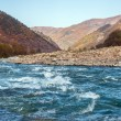 Autumn landscape mountain river North Caucasus — Stock Photo #70486929