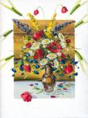 Flowers, picture oil paints on a canvas — Stock Photo