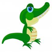 Cartoon of the crocodile on white — Stock Vector