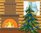Room with natty fir tree — Stock Vector