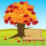 Bench under tree — Stock Vector #60239421