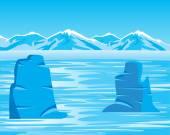 Arctic landscape with iceberg — Stock Vector