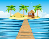 Wooden bridge to tropical island — Stockvector