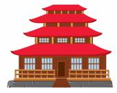 Building of the japanese architecture — Stock Vector
