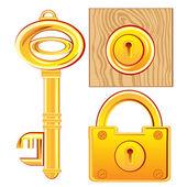 Золотой ключ и замок — Cтоковый вектор