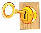 Golden key in lock — Stock Vector