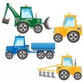 Much tractors — Stock Vector