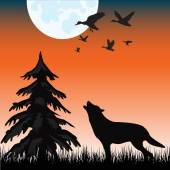 Wolf in hout — Stockvector