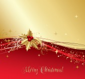 Merry Christmas  card with  gold holly — Stock Vector