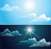 Blue and nightly sky with white clouds — Stock Vector