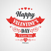 Happy Valentines Day Lettering Card - Typographical Background With Ornaments, Hearts, Ribbon and Arrow — Stock Vector