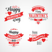 Happy Valentines Day Lettering Card. Typographic With Ornaments, Hearts, Ribbon and Arrow — Stock Vector