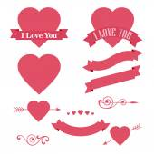 Happy Valentines Day design element. Ornaments, Hearts, Ribbon and Arrow — Vetorial Stock