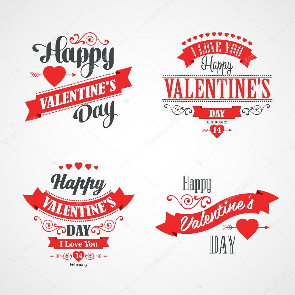 happy valentinstag schriftzug card typografische mit ornamenten herzen schleife und pfeil. Black Bedroom Furniture Sets. Home Design Ideas