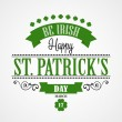 Happy Saint Patricks Day Card. Typographic With Ornaments,  Ribbon and Clover — Stock Vector #64692667