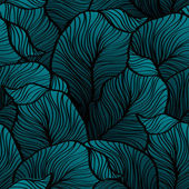 Retro seamless pattern with abstract doodle leaves — Cтоковый вектор