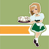 German girl waitress carries beer at Oktoberfest — Stock Vector
