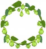 Wreath of hops in the form of a circle — Stock Vector