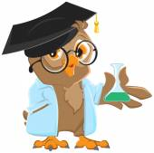 Owl teacher in a blue robe holding a flask — Stock Vector